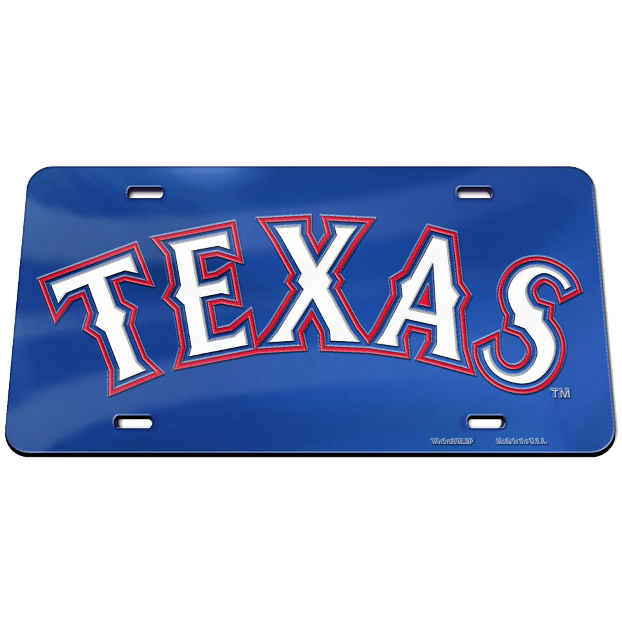 Texas Rangers WinCraft Crystal Mirror License Plate - No Size