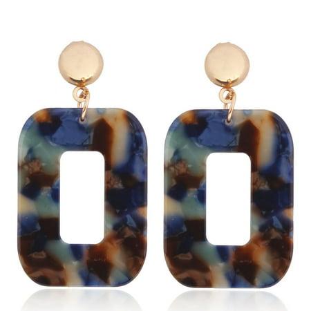 Women Fashion Resin Square Earrings Girl Party Earings Geometric Shape Long Earring Blue and green mixed color