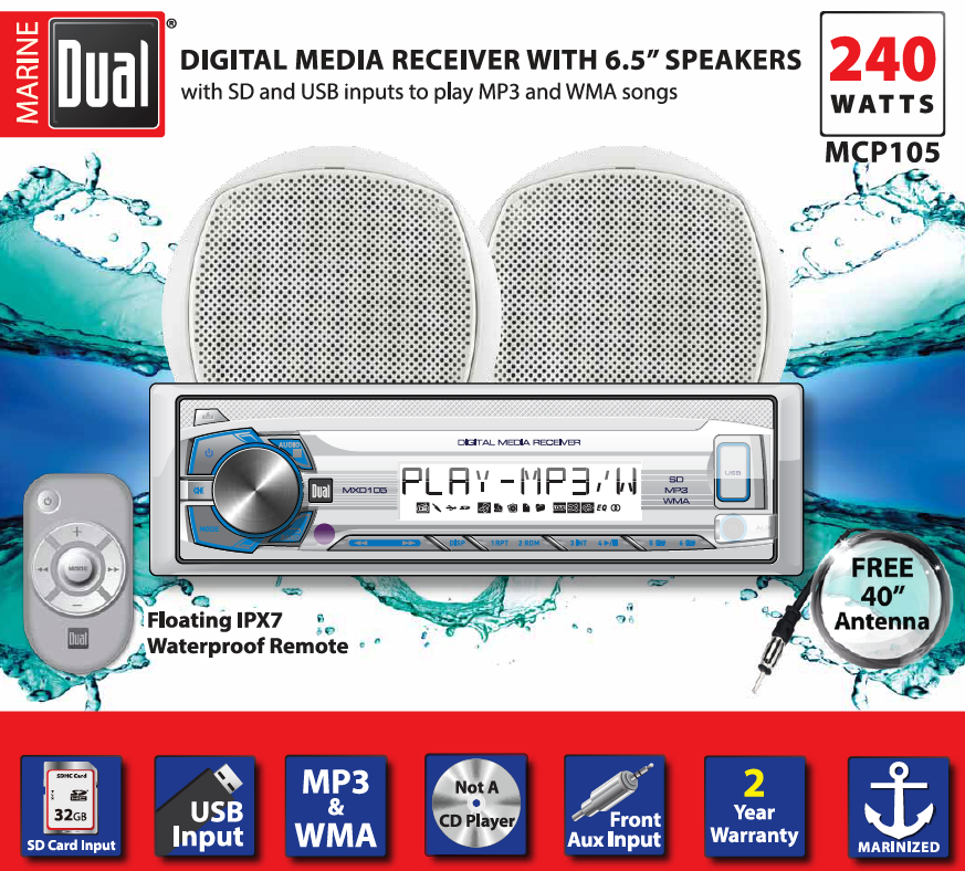 Dual Electronics MCP105 Multimedia Detachable Single DIN Marine Stereo with Built-In Bluetooth, USB SD Card Ports, Two 6.5 inch Dual Cone... by Dual Electronics