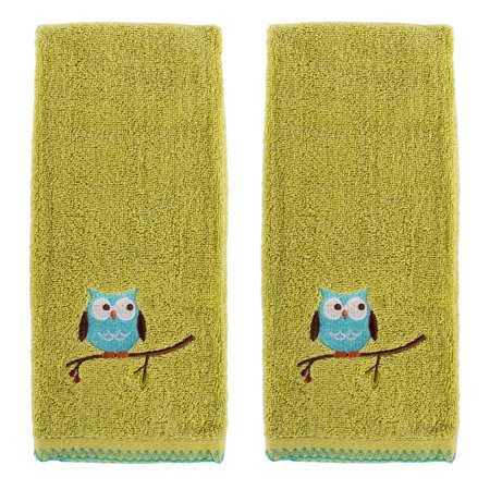 Saturday Knight Limited 2 Pack Matching Hooty Owl Hand Towels Set 100 Cotton