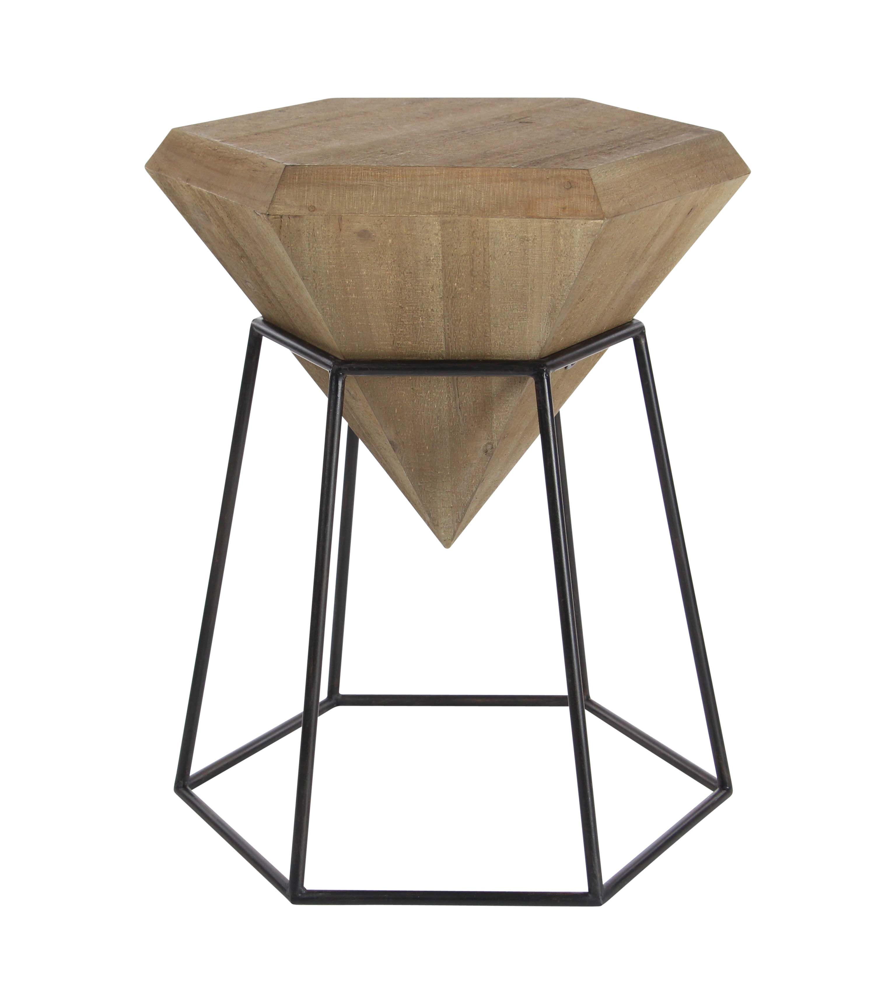 Decmode Modern 25 X 20 Inch Iron Framed Wooden Diamond Accent Table, Brown by DecMode