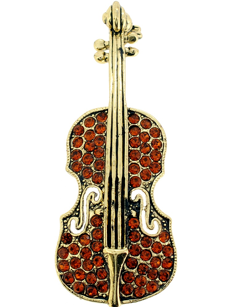 Vintage Style Topaz Brown Violin Crystal Pin Brooch by