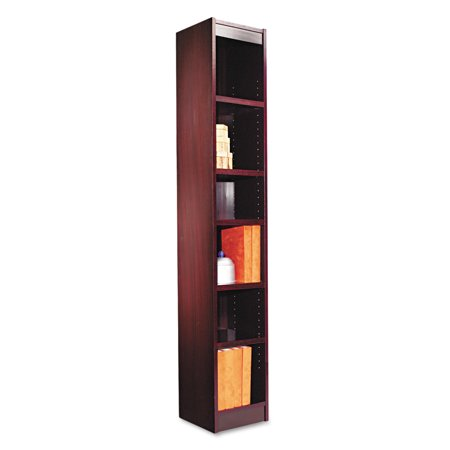 Alera Narrow Profile Bookcase, Wood Veneer, Six-Shelf, 12w x 11-3/4d x 72h, Mahogany - Mahogany 3 Tier