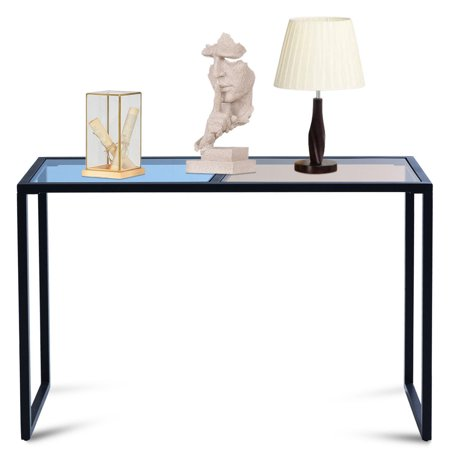 Costway Console Table Tempered Glass Top Metal Frame Hallway Entryway Home Furniture