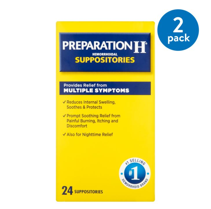 (2 Pack) Preparation H Hemorrhoid Symptom Treatment Suppositories (24 Count), Burning, Itching and Discomfort Relief