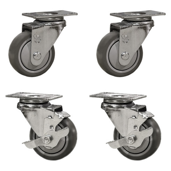"Service Caster – 3"" Gray Thermoplastic Rubber Wheel – 2 Swivel and 2 Swivel Casters w/Brakes – Set of 4"