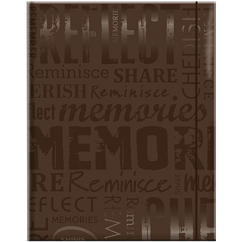 "Embossed Gloss Expressions Photo Album, 4.75"" x 6.5"", 100 Pocket, Memories, Brown"