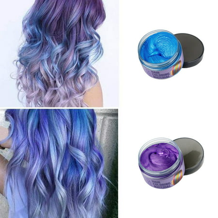 Hair Wax 2 Colors Kit Temporary Hair Coloring Styling Cream Mud Dye - Blue,