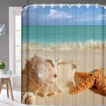 Popeven 72 X Inch Sunny Beach Seashell Conch Starfish Shower Curtain Waterproof Polyester Fabric