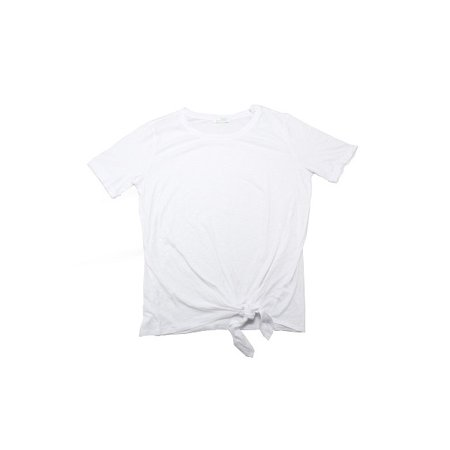 Green Envy Womens Size Medium Short Sleeve Organic Cotton Tie Front Tee, White
