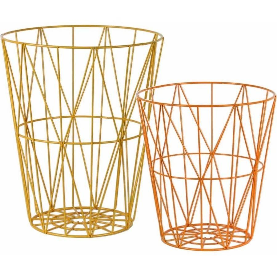 Urban Trends Collection: Metal Basket, Coated Finish, Orange, Yellow
