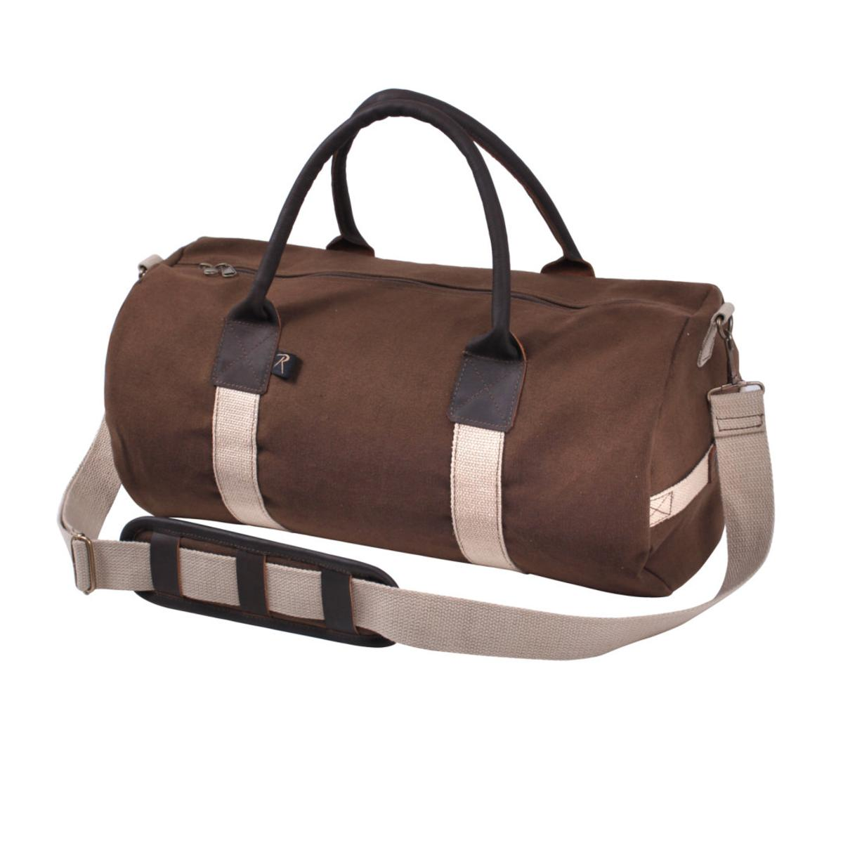 "Rothco 19"" Canvas & Leather Gym Bag, Sports Duffle Bag w Shoulder Strap by Rothco"