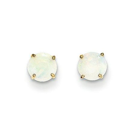 Gold Diamond Created Opal Earrings - 5mm Round Opal Stud Earrings in 14k Yellow Gold