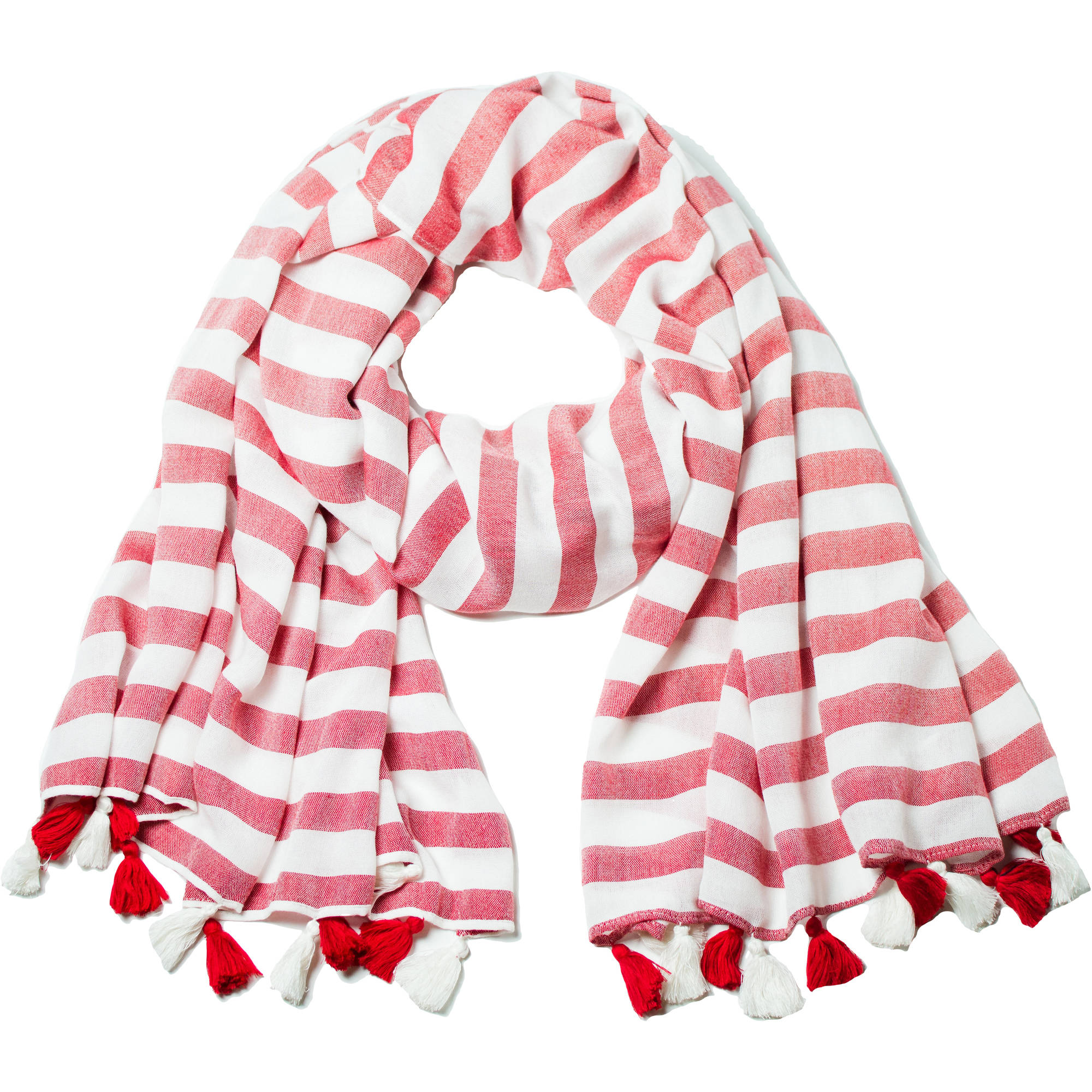 Women's Faded Glory Bold Stripe Oblong Scarf With Tassels