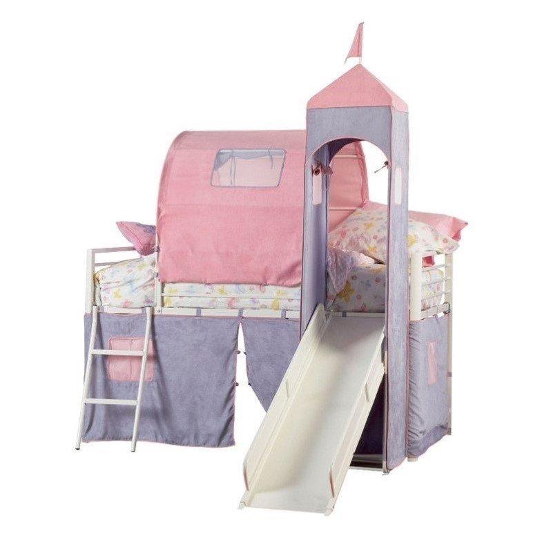 Powell Princess Castle Twin Size Tent Loft Bed with Slide, Pink/Lavendar