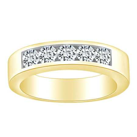 1/2 Carat Round White Natural Diamond Five Stone Anniversary Wedding Band Ring 14k Solid Yellow Gold (0.50 Cttw) Ring Size-5
