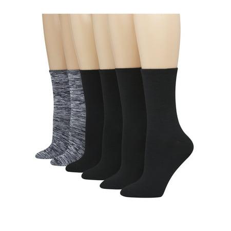 Hanes Women's ComfortBlend Crew Socks - Extended Sizes - 6 Pair (nike elite socks black women)