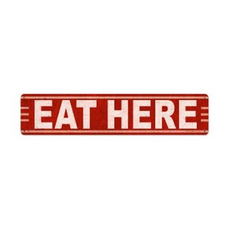 Past Time Signs RPC377 Eat Here Food And Drink Metal Sign, 28 W X 6 H In. ()