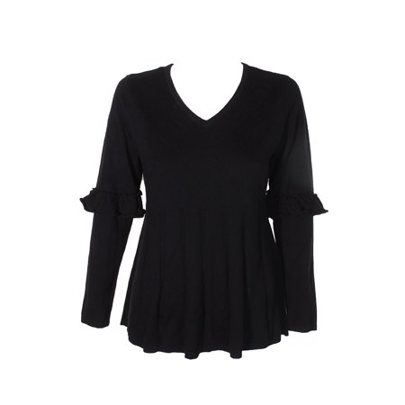 Style Co Petite Black Heather Ruffled-Sleeve Pull Over Pleated V-Neck Sweater PM
