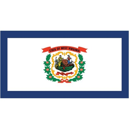 2-Pack West Virginia State Flag Decal Sticker | 5-Inches By 3-Inches | Laminated Vinyl Decal | PDS354 ()