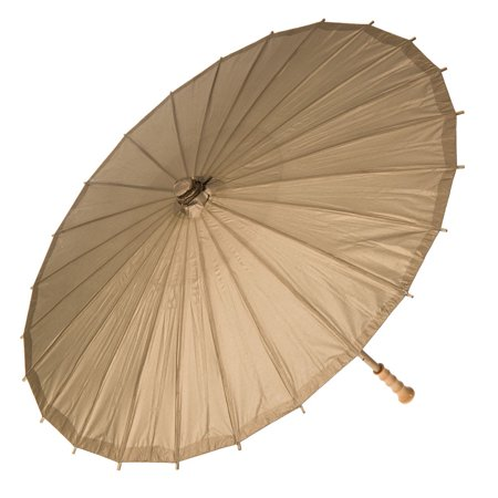 Paper Parasol (32-Inch, Champagne) - Chinese/Japanese Paper Umbrella - For Weddings and Personal Sun Protection - Parasols For Sale