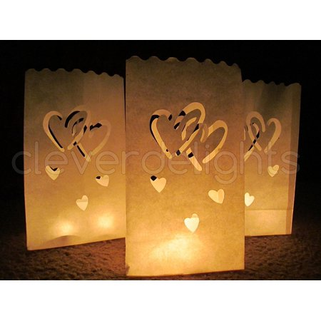 Wedding Reception Decor (CleverDelights White Luminary Bags - 30 Count - Interlocking Hearts Design - Wedding, Reception, Party and Event Decor - Flame Resistant Paper -)