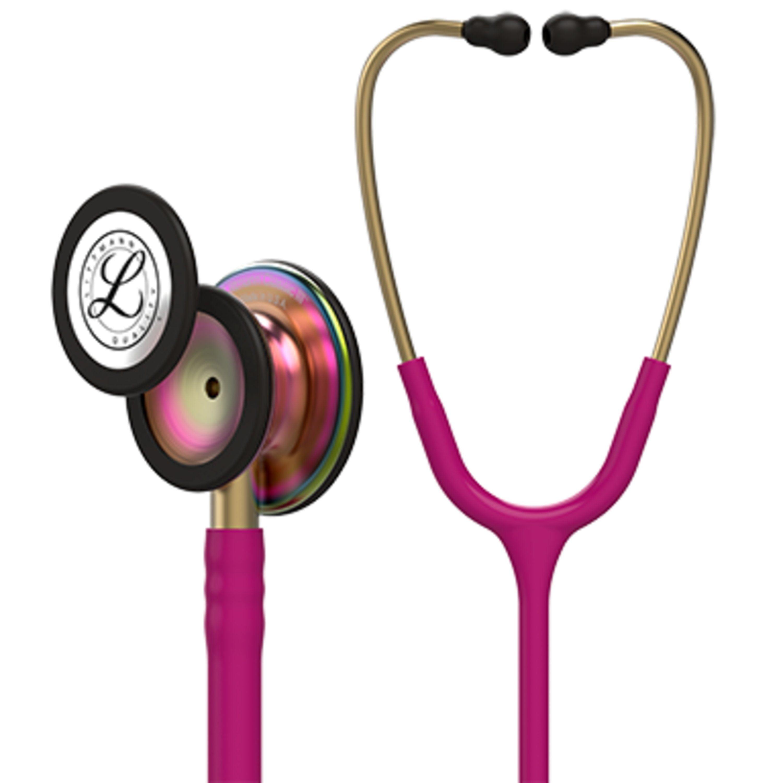 3M Littmann Classic III Stethoscope, Rainbow-Finish, Raspberry Tube, 27 inch