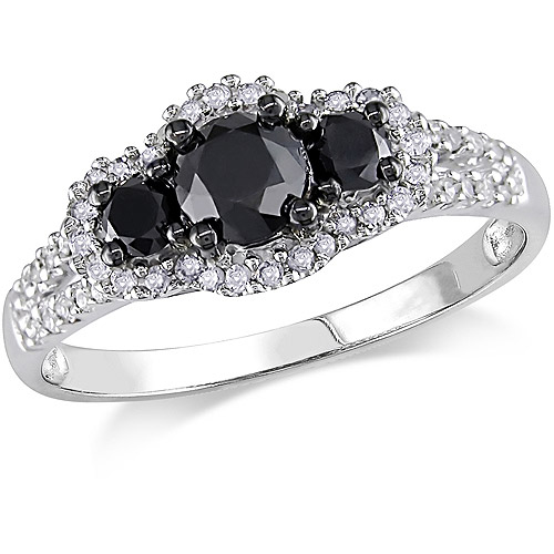1 Carat T.W. Black and White Diamond 10kt White Gold Three-Stone Engagement Ring