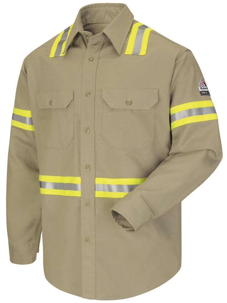 bulwark fr khaki enhanced visibility uniform shirt