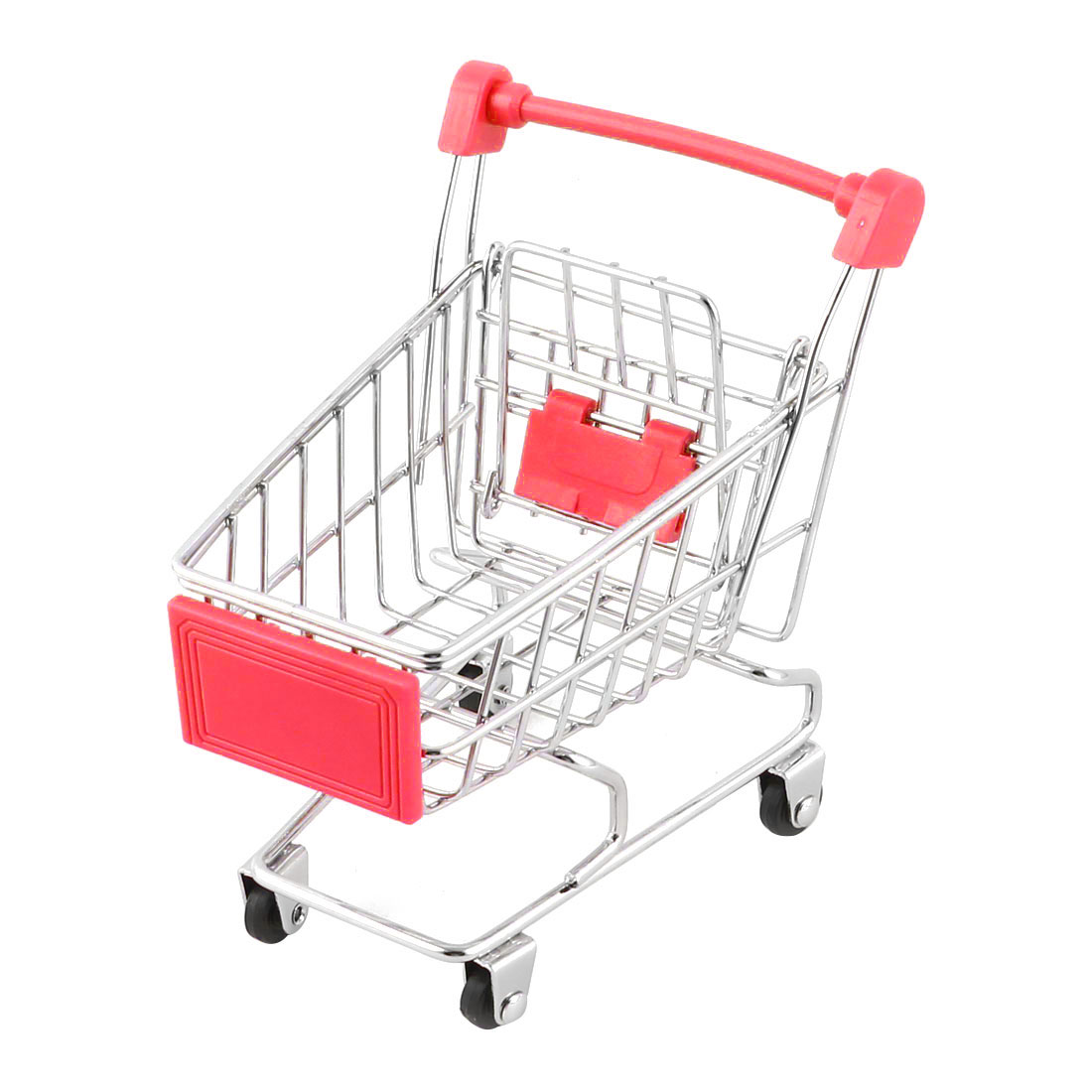 Ornament Size Household Desktop Metal  Shopping Handcart Trolly Container Cart Red