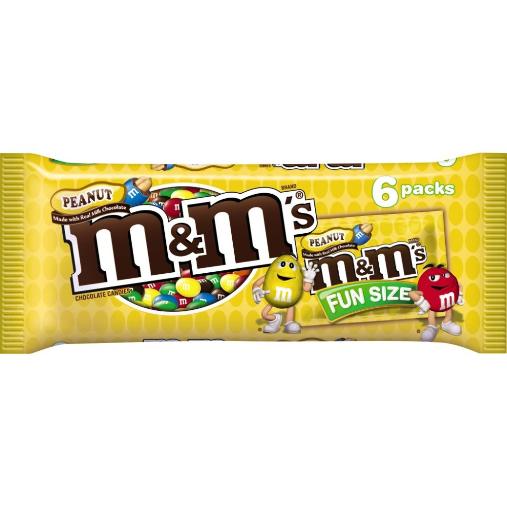 M&M'S Peanut Chocolate Candy Fun Size Pouch Pack, 3.74 oz 6 Pack