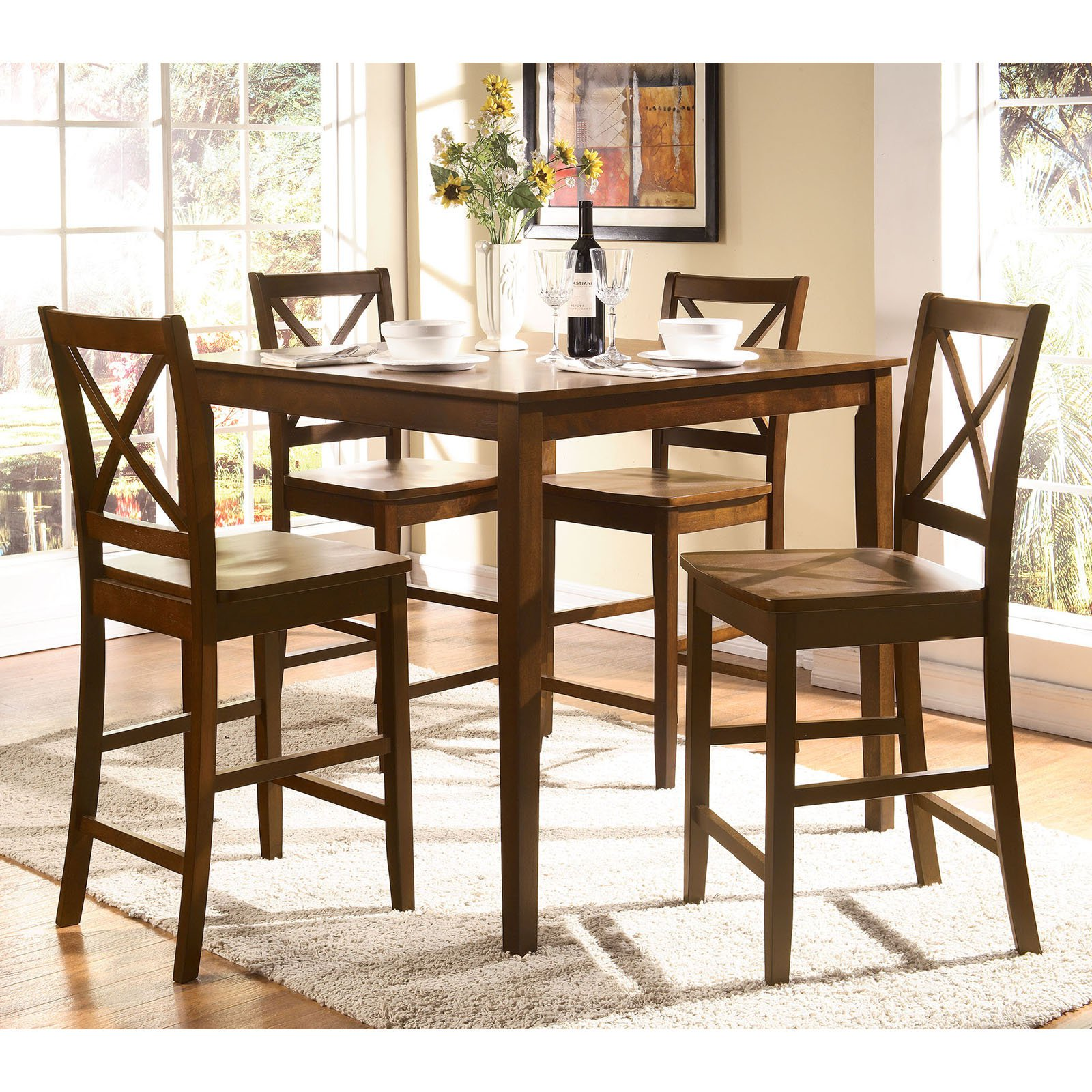 Acme Furniture Martha 5 Piece Counter Height Dining Table Set