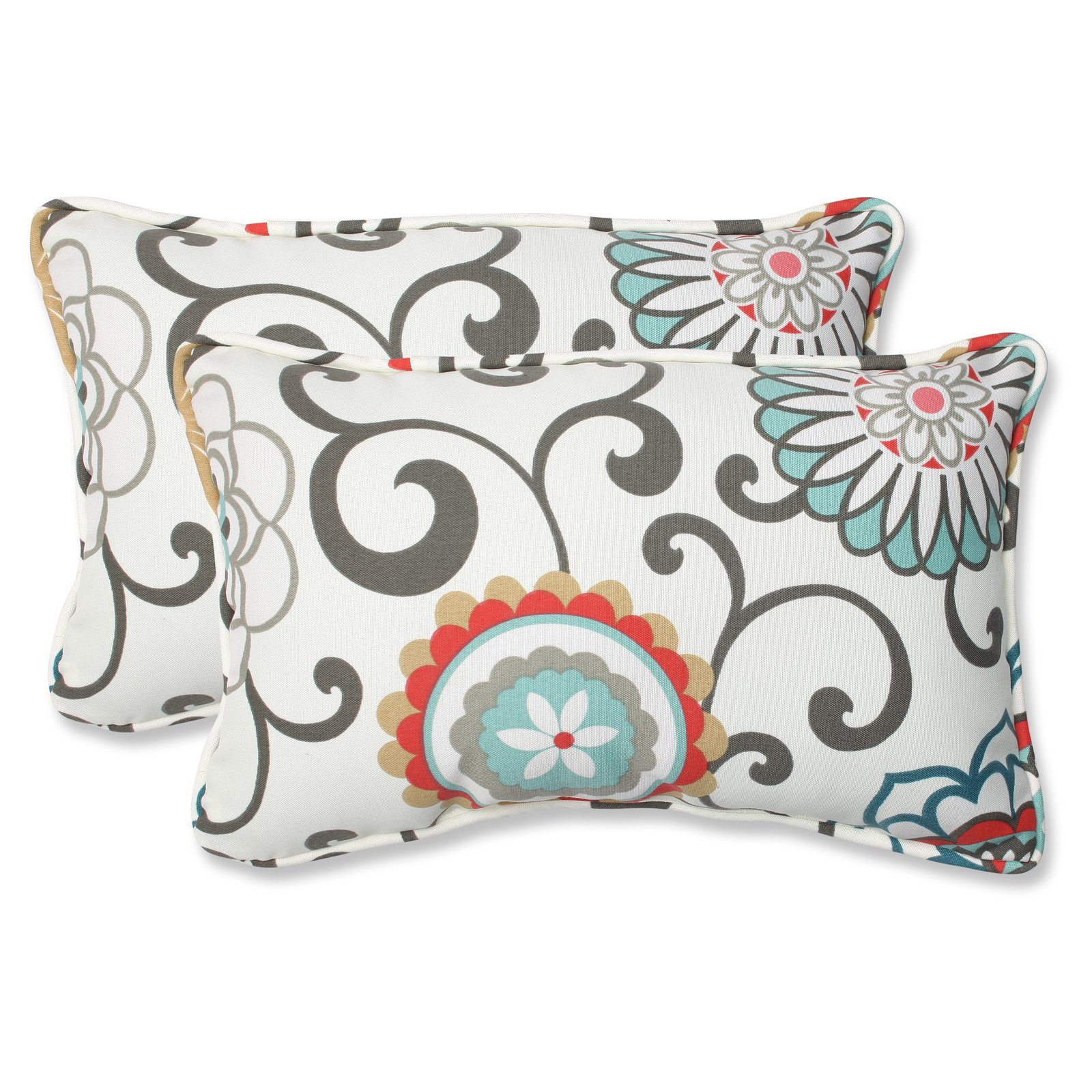 Pillow Perfect Outdoor/ Indoor Pom Pom Play Peachtini Rectangular Throw Pillow (Set of 2)
