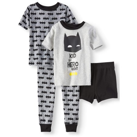 Toddler Boys' Batman Cotton Tight Fit Pajamas, 4-Piece Set - Batman Robe