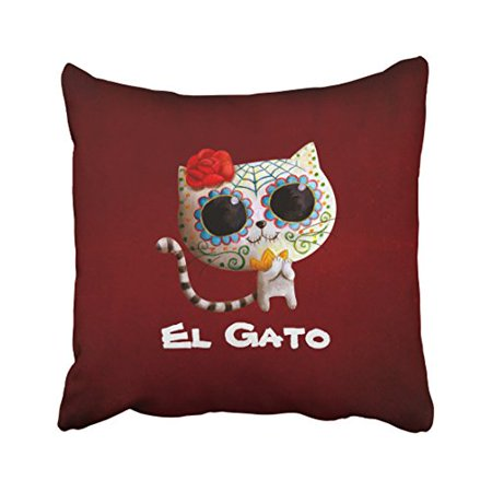 WinHome Vintage Abstract Fashion The Day Of The Dead Cute Flower Cat Polyester 18 x 18 Inch Square Throw Pillow Covers With Hidden Zipper Home Sofa Cushion Decorative Pillowcases](Day Of The Dead Flower)