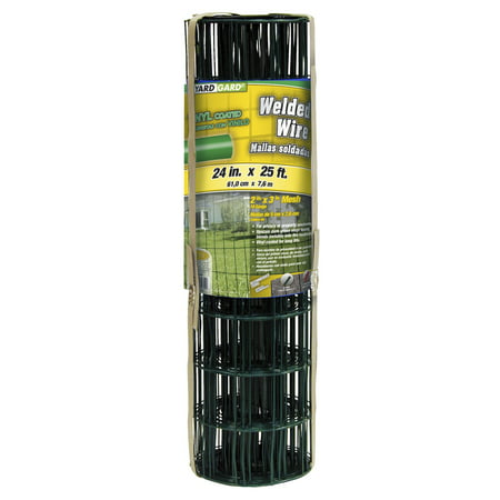 YARDGARD 2 Inch by 3 Inch Mesh, 2 ft by 25 ft 16 Gauge Junior Roll of PVC Coated Welded Wire Fence(Dark Green)