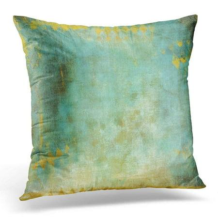 CMFUN Blue Abstract Verdigris with Gold Foil Diamond Stamp Colorful Antique Pillow Case Pillow Cover 20x20 (Antique Foil)