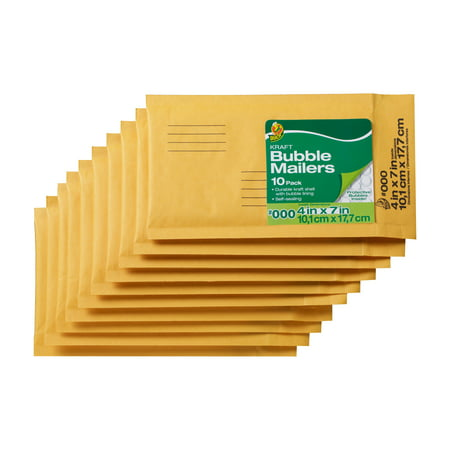 Duck Brand 4 In. x 7 In. (Size 000) Kraft Bubble Mailers, 10-Pack