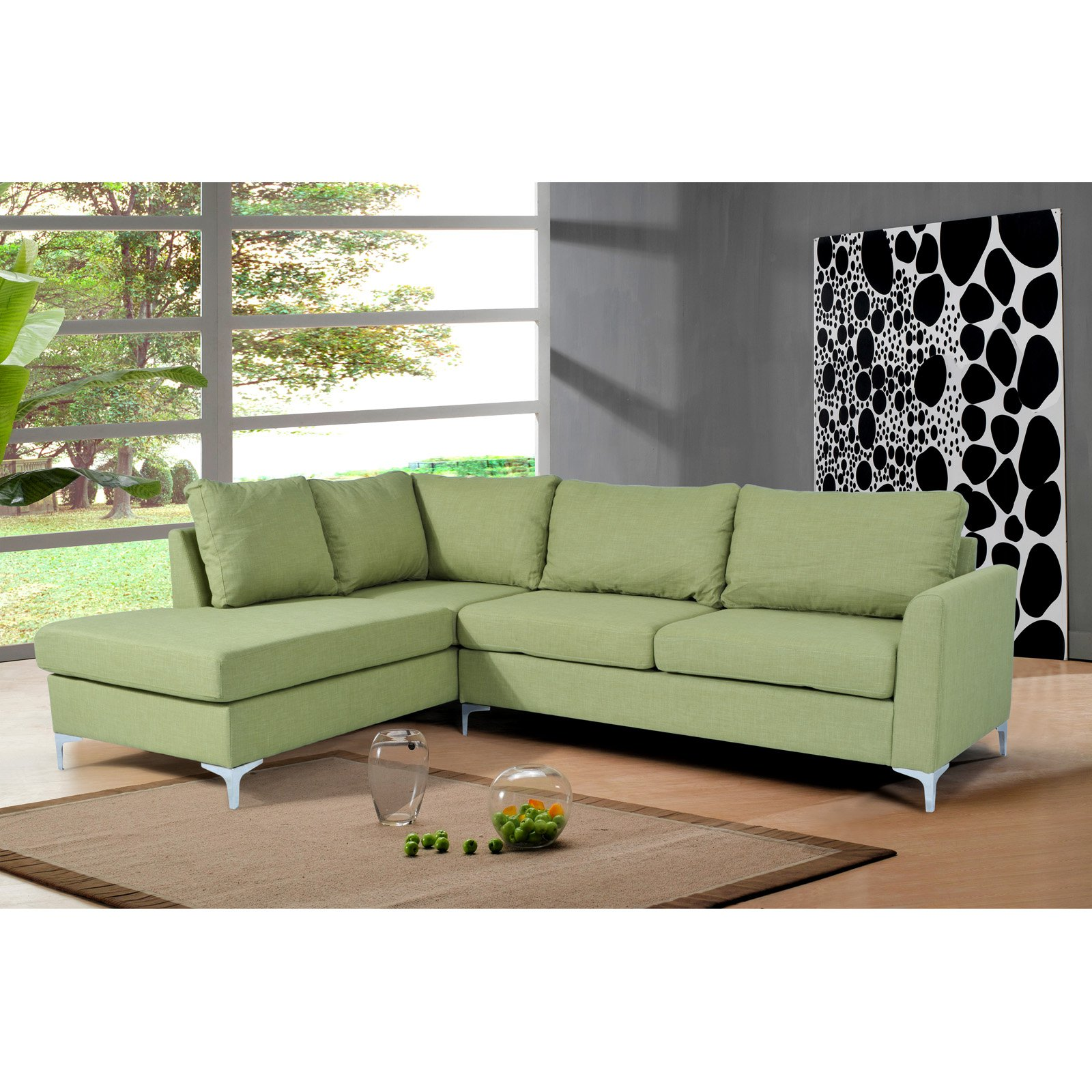 NH Designs Reversible Linen Sectional Sofa with Chaise