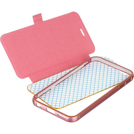 Insten With Removable Bumper Book-Style Leather Fabric Case w/stand for Apple iPhone 6 / 6s - Hot Pink - image 5 of 5