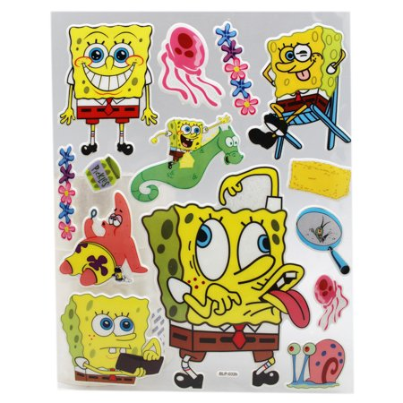 - Spongebob Squarepants Raised 3D Vinyl Material Sticker Sheet (14 Stickers)