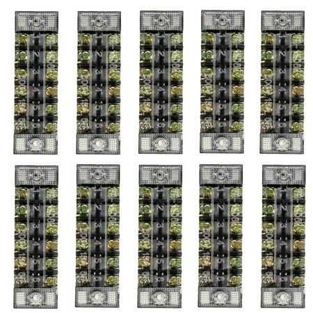AUDEW 10Pcs TB-1506 600V,15A 6Position Dual Row Electric Barrier Terminal Connector Wire Screw Panel Bar Strip