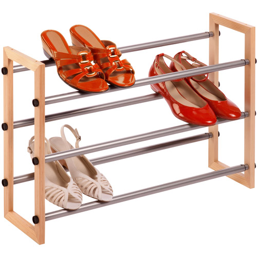 Honey Can Do 3-Tier Expandable Wood and Metal Shoe Rack