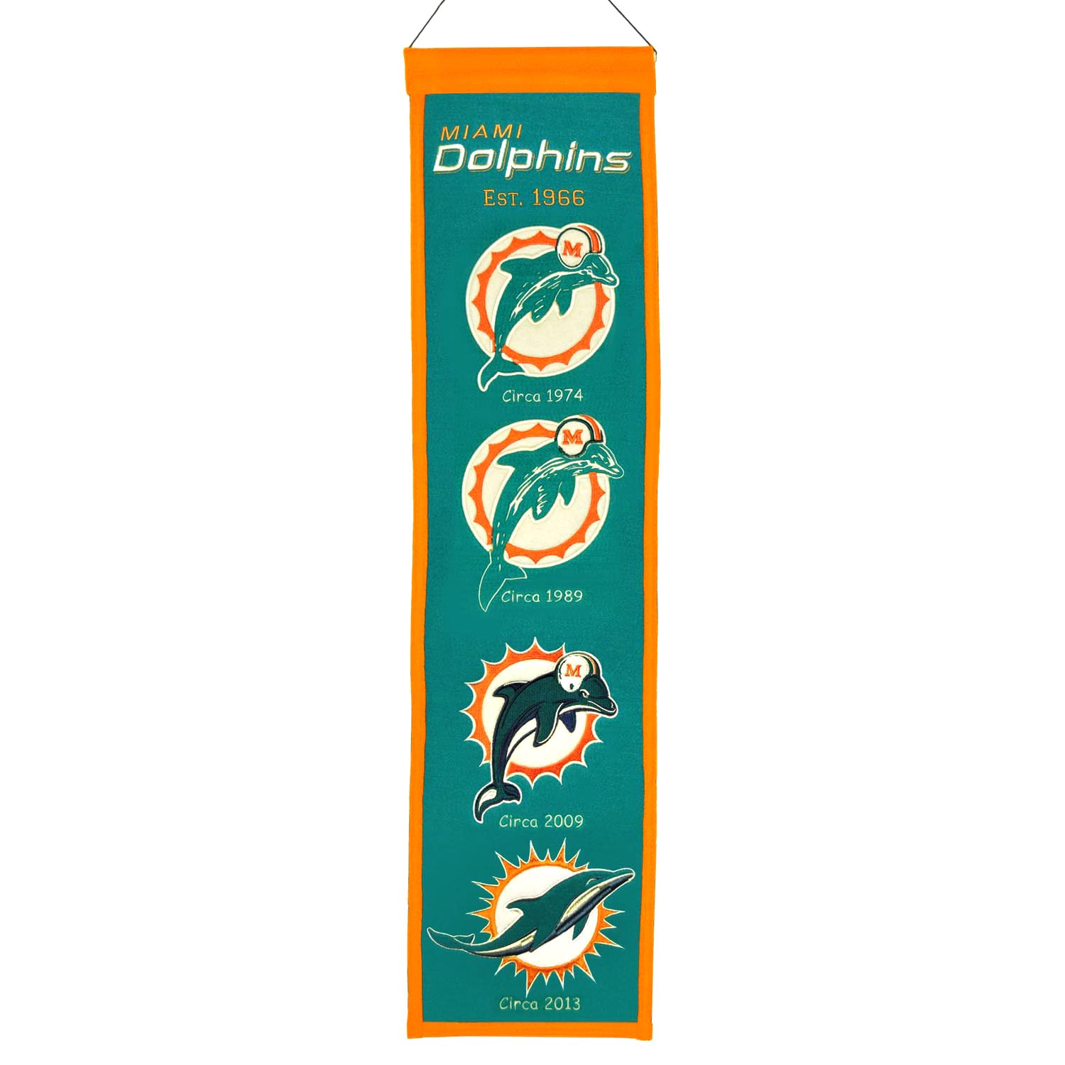"Miami Dolphins Winning Streak Past Mascots Wool Heritage Banner (8""x32"")"