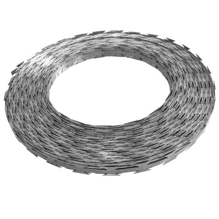 NATO Razor Wire 328' Steel Garden Fence Ribbon Barbed Wire Galvanized Steel Weather/Water-Resistant for Secure Military Sites, Prisons/Government Agencies](Halloween Cemetery Fence For Sale)