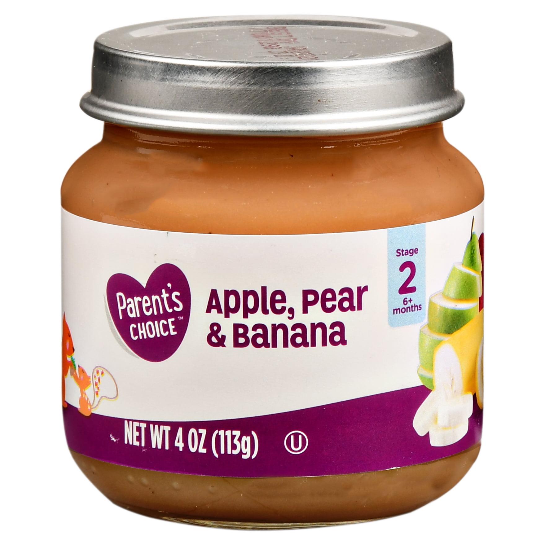Parent's Choice Baby Food, Apple, Pear & Banana, Stage 2, 4 oz