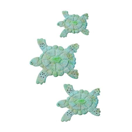 Sea Turtle Wall Art- Nautical 3D Metal Hanging Decor-Vintage Coastal Seaside Inspired Style-Under Water Sea Life Ocean by Lavish Home 3PC - Turtle Decor