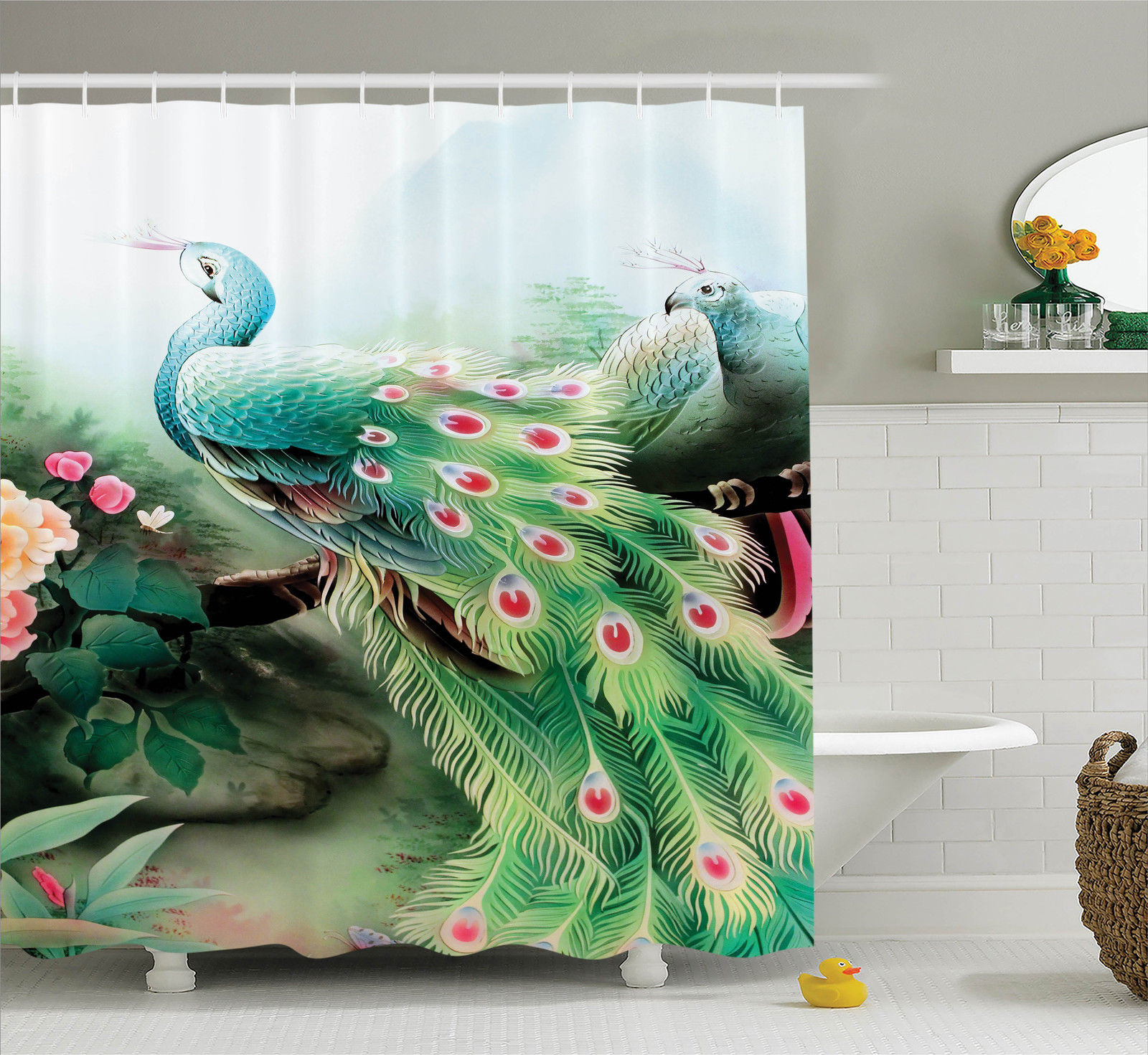 Peacock Decor Shower Curtain Set, Peacock In Summer Flower Garden Glass  Vibrant Color Painting Effect