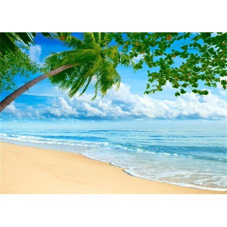 ABPHOTO Polyester 7x5ft Beach Photo Backdrop Seaside Blue Sky White Clouds Palm Tree Beach Backdrop for Photography Party Hawaiian Luau Scene Setters Personal Portrait Photo Background Studio Props for $<!---->