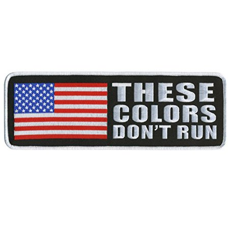 Hot Leathers, THESE COLORS DON'T RUN with American Flag, High Quality Iron-On / Saw-On Rayon VELCRO PATCH - 4